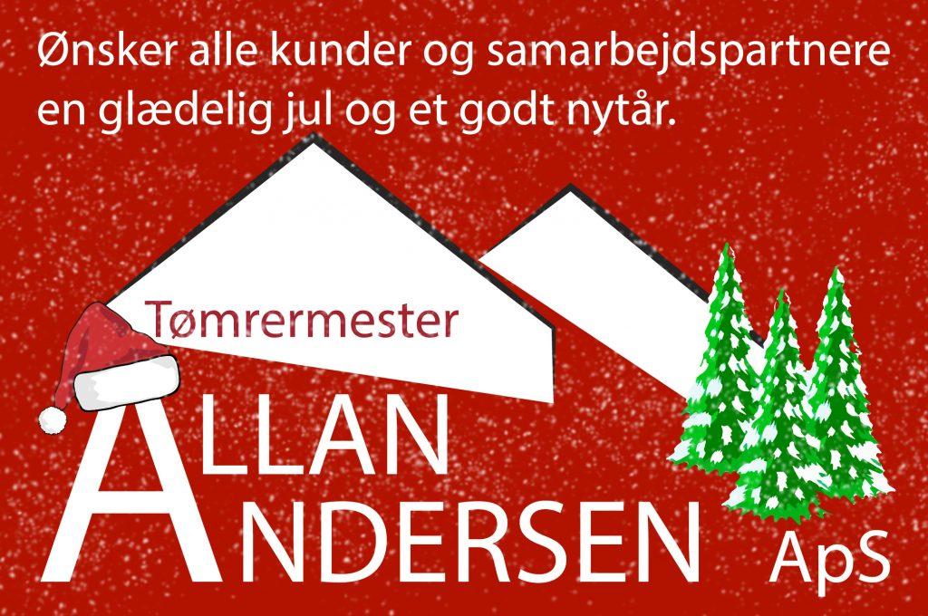 julebillede, tømrermester med træer og nissehue
