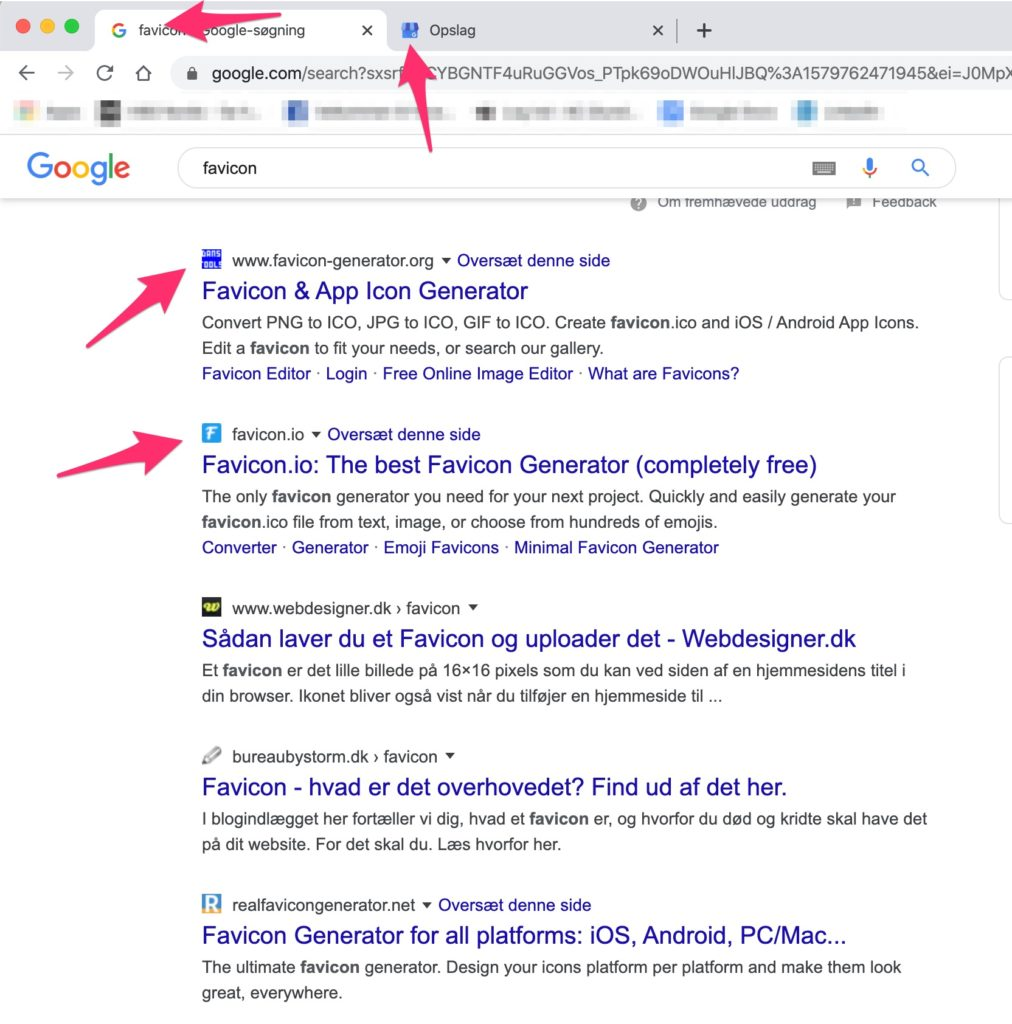 favicon i Google søgeresultater ser sådan her ud